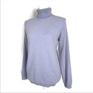 Lands End Cashmere Sweater Lavender Turtleneck
